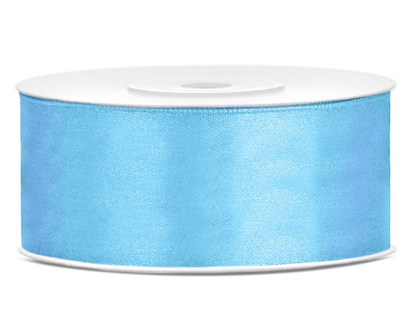 Double Sided Sky Blue Satin Ribbon - 25 mm x 25 metres