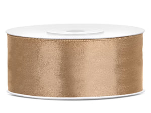 Double Sided Light Gold Satin Ribbon - 25 mm x 25 metres