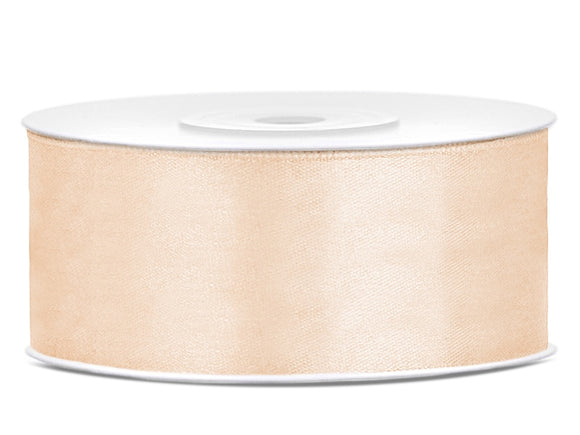 Double Sided Cream Satin Ribbon - 25 mm x 25 metres