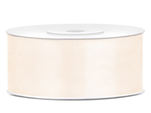 Double Sided Light Cream Satin Ribbon - 25 mm x 25 metres