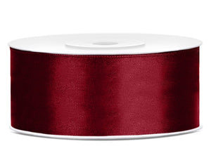 Double Sided Deep Red Satin Ribbon - 25 mm x 25 metres