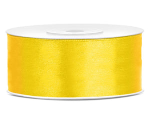Double Sided Yellow Satin Ribbon - 25 mm x 25 metres