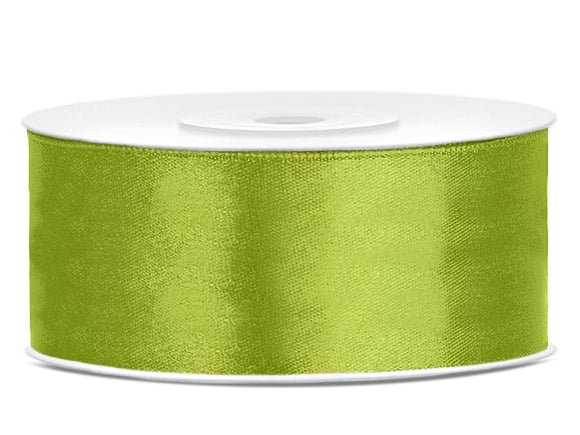 Double Sided Light Green Satin Ribbon - 25 mm x 25 metres