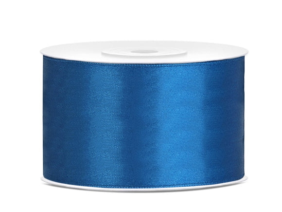 Double Sided Blue Satin Ribbon - 38 mm x 25 metres