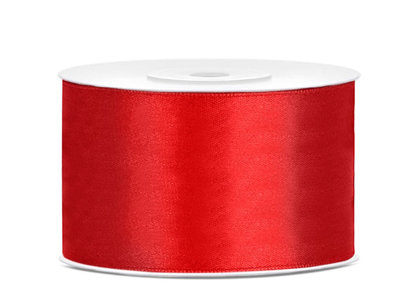 Double Sided Red Satin Ribbon - 38 mm x 25 metres