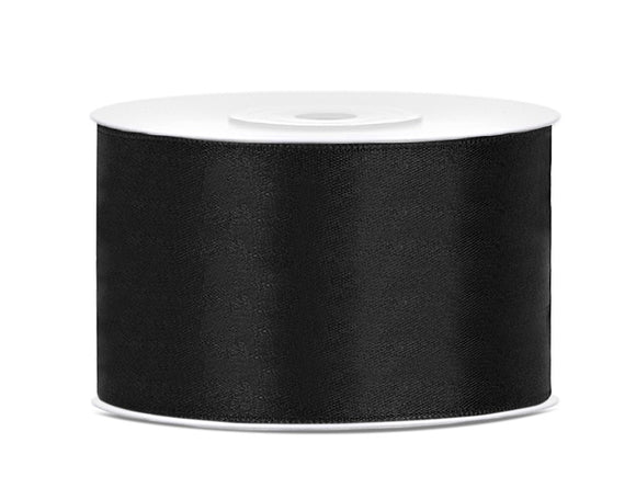 Double Sided Black Satin Ribbon - 38 mm x 25 metres