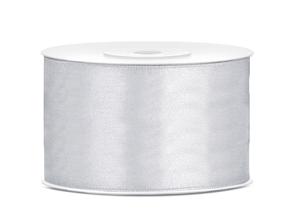 Double Sided Silver Satin Ribbon - 38 mm x 25 metres