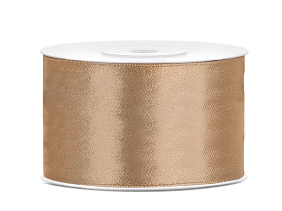 Double Sided Light Gold Satin Ribbon - 38 mm x 25 metres