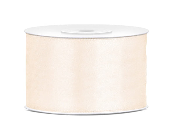 Double Sided Light Cream Satin Ribbon - 38 mm x 25 metres