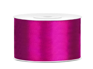 Double Sided Fuchsia Satin Ribbon - 38 mm x 25 metres