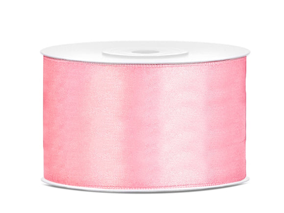 Double Sided Light Pink Satin Ribbon - 38 mm x 25 metres