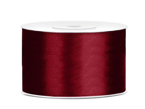 Double Sided Deep Red Satin Ribbon - 38 mm x 25 metres