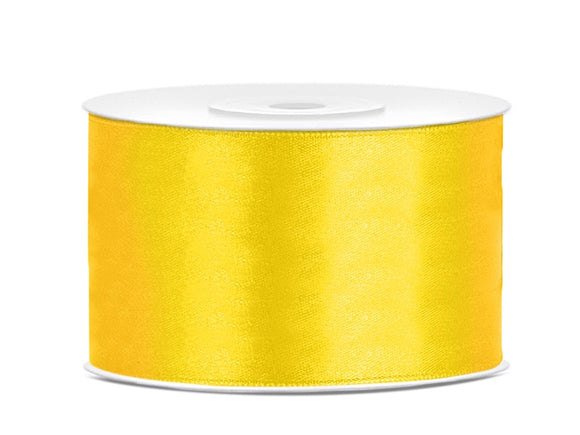 Double Sided Yellow Satin Ribbon - 38 mm x 25 metres