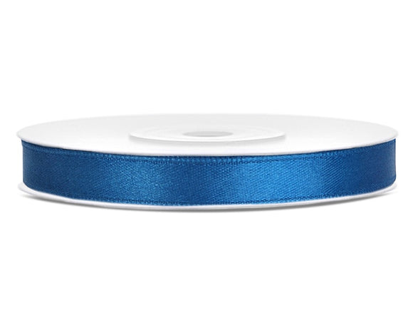 Double Sided Blue Satin Ribbon - 6 mm x 25 metres