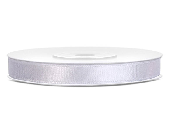 Double Sided White Satin Ribbon - 6 mm x 25 metres
