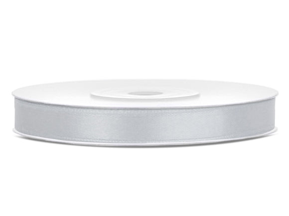 Double Sided Silver Satin Ribbon - 6 mm x 25 metres