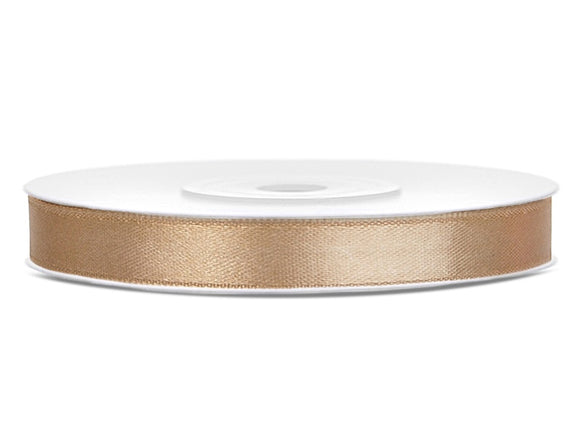 Double Sided Light Gold Satin Ribbon - 6 mm x 25 metres