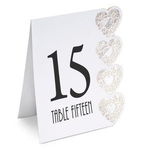 White Table Numbers - Laser Cut Heart Design