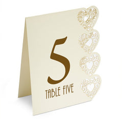 Ivory Table Numbers - Laser Cut Heart Design