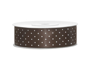Chocolate Brown With White Polka Dots Satin Ribbon - 25mm x 25m