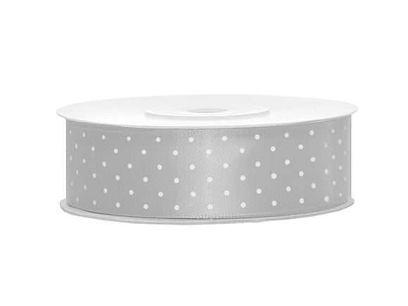 Silver With White Polka Dots Satin Ribbon - 25mm x 25m