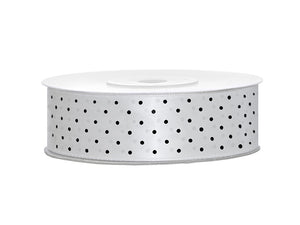 White With Black Polka Dots Satin Ribbon - 25mm x 25m