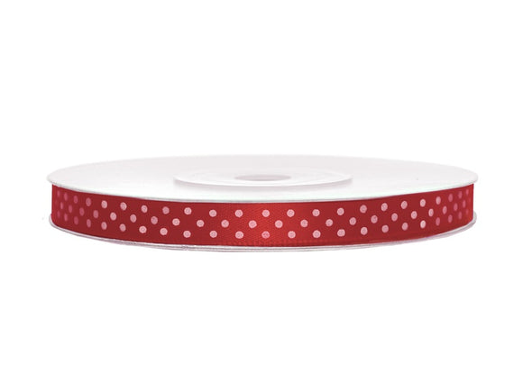 Red With White Polka Dots Satin Ribbon - 12mm x 25m