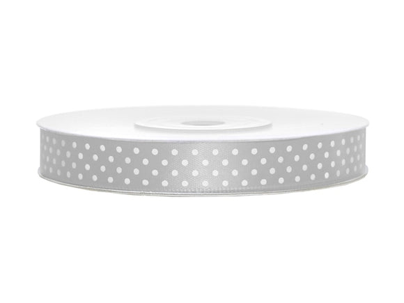 Silver With White Polka Dots Satin Ribbon - 12mm x 25m