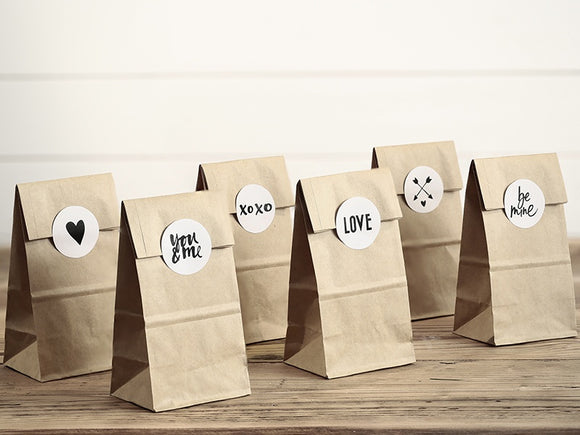 Kraft Paper Sweetie Bags With Stickers - 6 Pack