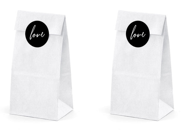 White Paper Sweetie Bags With Stickers - White