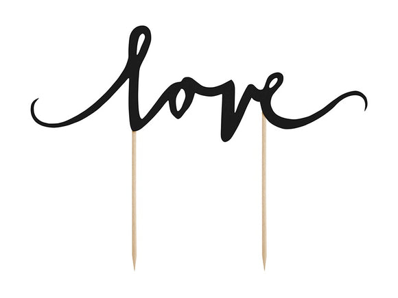 Large Black 'Love' Cake Topper