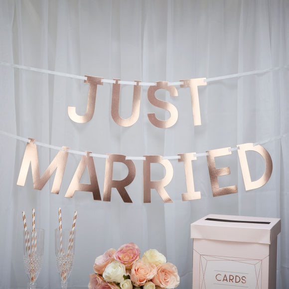 Rose Gold Just Married Bunting 'Geo Blush'