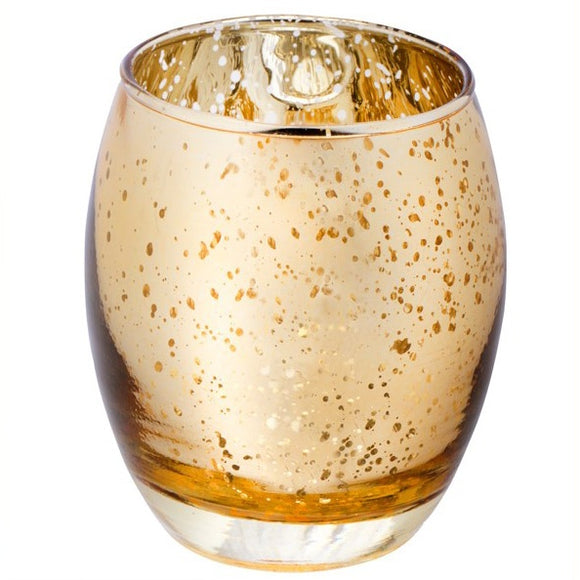 Glass Hurricane Votive Candle Holder (Speckled Gold)