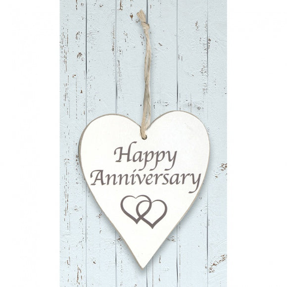 'Happy Anniversary' White Wooden Heart Sign
