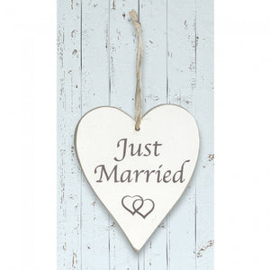 'Just Married' White Wooden Heart Sign