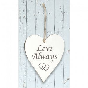 'Love Always' White Wooden Heart Sign