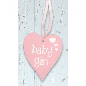 'Baby Girl' Light Pink Wooden Heart Sign