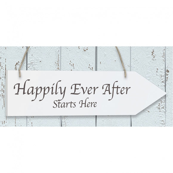 'Happily Ever After' White Wooden Arrow Sign