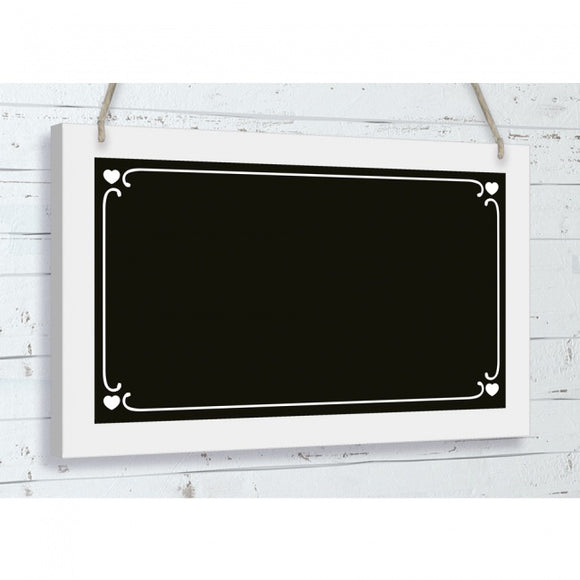 Hanging Black Chalkboard Sign With Hearts