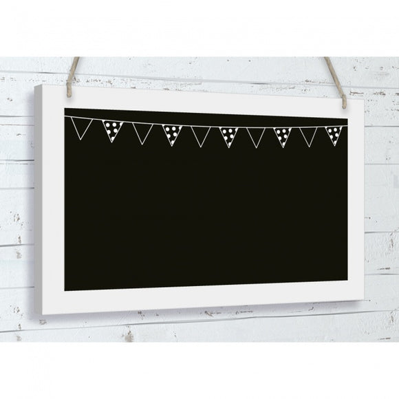 Hanging Black Wooden Chalkboard With Bunting Detail