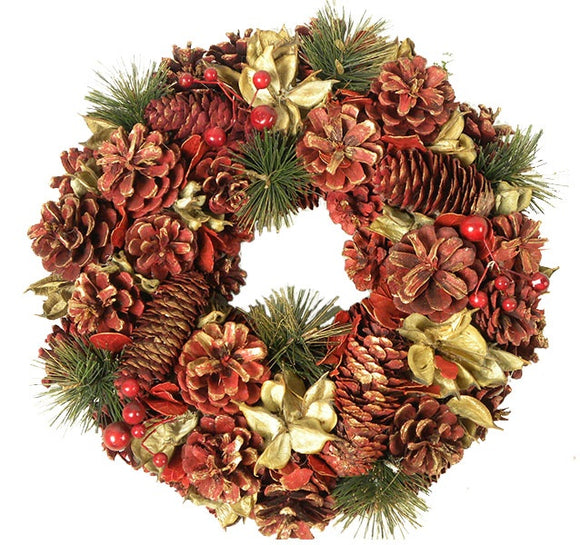 Red Pine Cone Wreath (30cm)