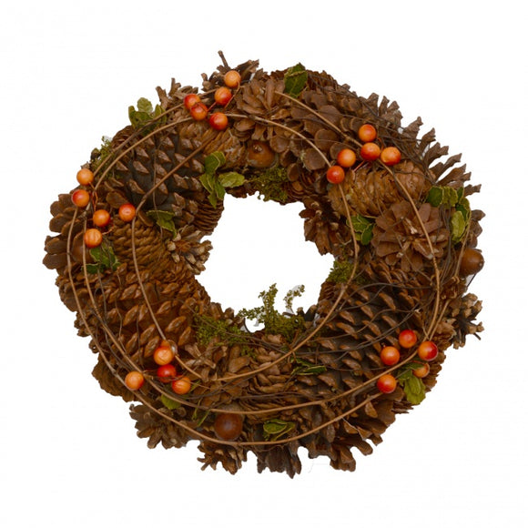 Rattan, Berry and Pine Cone Wreath (30cm)