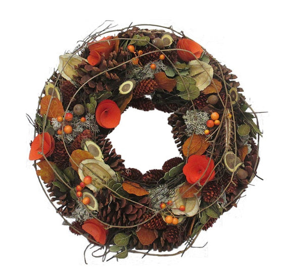 Autumn Log and Rose Christmas Wreath (30cm)