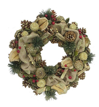 Hessian and Stick Detail Wreath (30cm)