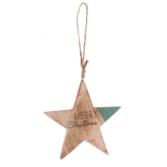 Wooden Hanging Star 'Merry Christmas'