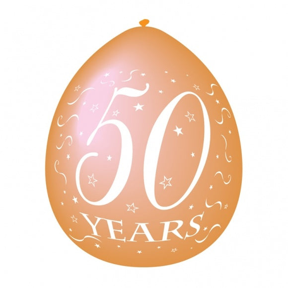 Latex Golden Anniversary '50 Years' Balloons