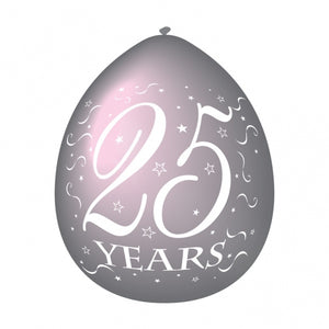 Latex Silver Anniversary '25 Years' Balloons