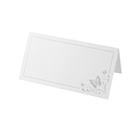 Place Card - White and Silver Butterfly (50 Per Pack)