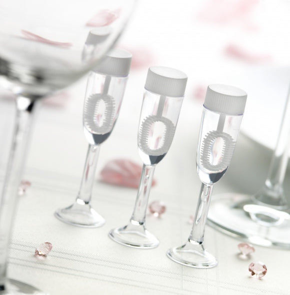 Wedding Blowing Bubbles - Champagne Glasses (24 Per Pack)