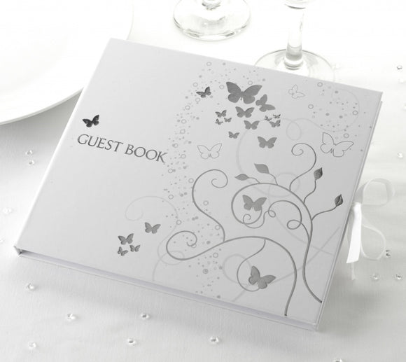 Guest Book - White and Silver Butterfly